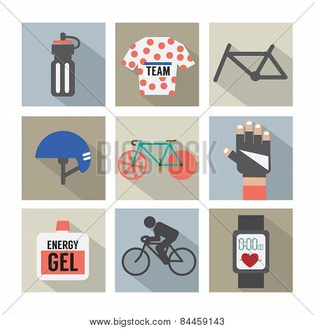 Set Of Flat Design Bicycle And Accessories Icons.