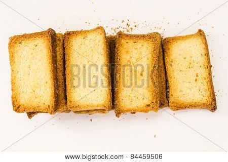 stack of rusk on a plain background