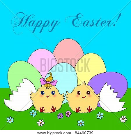 Easter Eggs With Cute Chickens