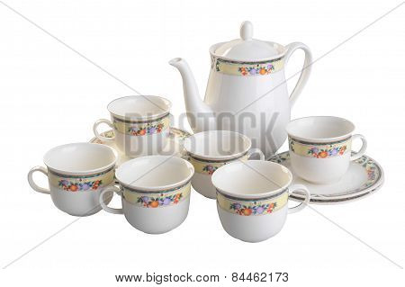 Teapot And Cup Set . Teapot And Cup Set On A Background