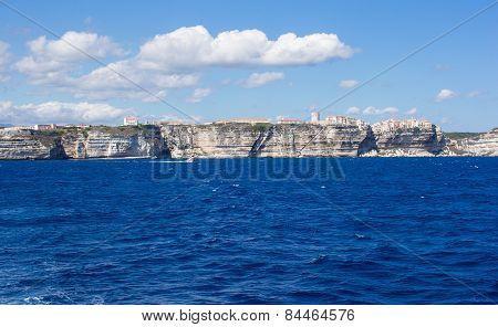 View of the cliff of Bonifacio, Corsica, France