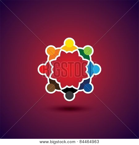 Employees, Executives, Students Meeting - Concept Vector Graphic