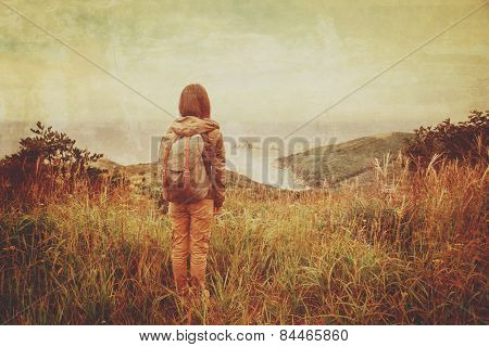 Hiker Woman Walking In The Mountains