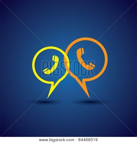 Online Phone Support & Phone Chat - Concept Vector Line Icon