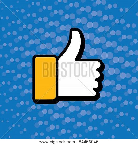 Pop Art Thumbs Up & Like Hand Symbol Used In Social Media - Vector Icon