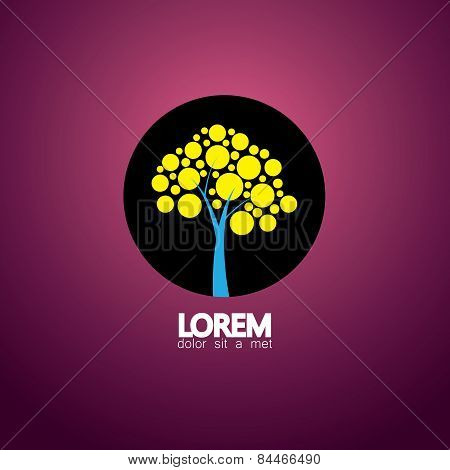 Graphic Vector Icon Of Solitary Tree Silhouette In A Circle