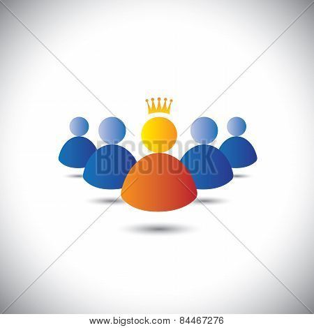 Leader With Crown & Leadership, Team & Teamwork Concept Vector Icon