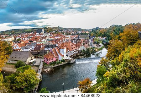 View On River And Red Roofs In Cesky Krumlov