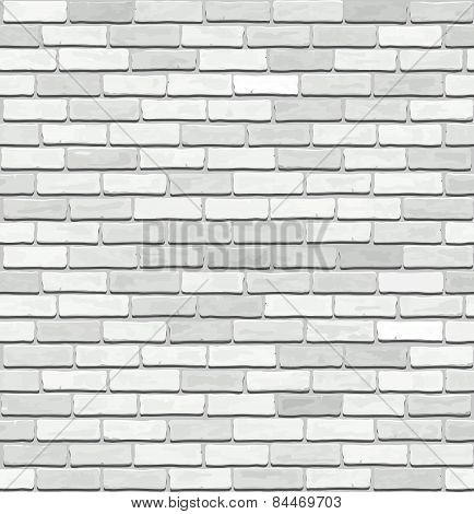 White Brick Vector Seamless Texture.