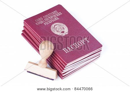 A Stack Of Passports Of The Soviet Union And Stamp For Visas