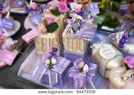 Grasse, France - July 5, 2014: Homemade Multi Colored Soap