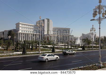 Ashgabad, Turkmenistan - October 15, 2014: Central Square Of Ashgabad In October  15, 2014