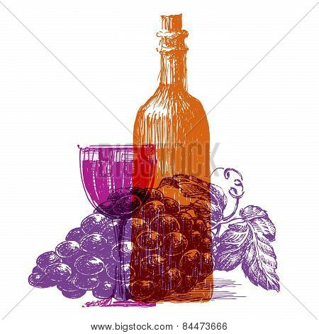 retro wine vector logo design template. grape or glass icon.