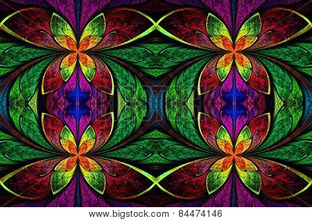 Multicolored Symmetrical Pattern In Stained-glass Window Style. On Black. Computer Generated Graphic