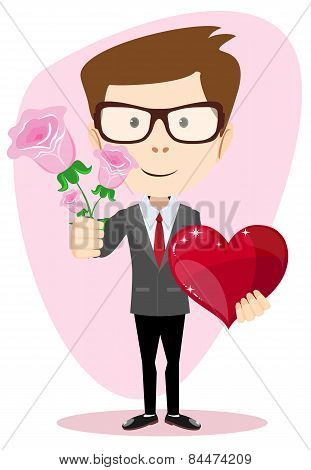 Young man holding a rose and heart, vector illustration
