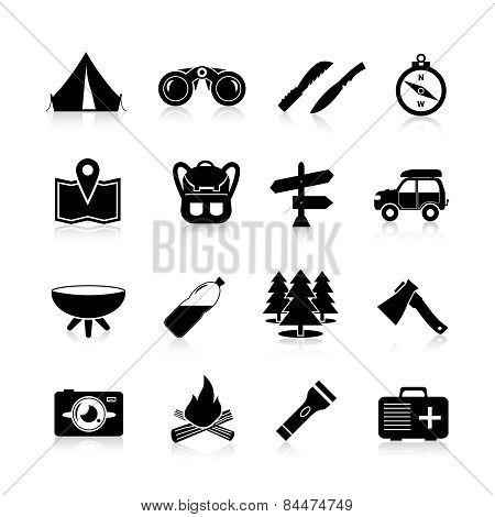 Camping Icons Black