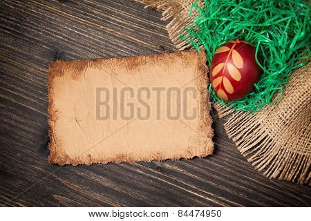 Red Easter Egg And Old Vintage Paper Card