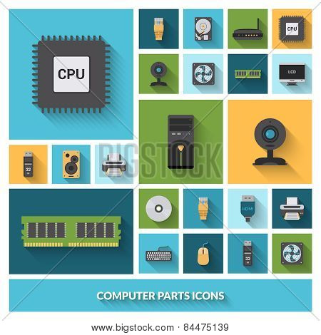Computer Parts Decorative Icons Set