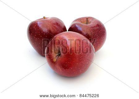 Three Red Shiny Apple