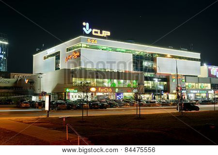 Central Shop Centre In Vilnius City Night View