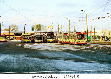 Vilnius City Trolley Buss In Zirmunai District Nord City