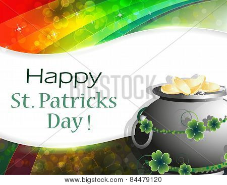 Pot Of Gold On Rainbow Background