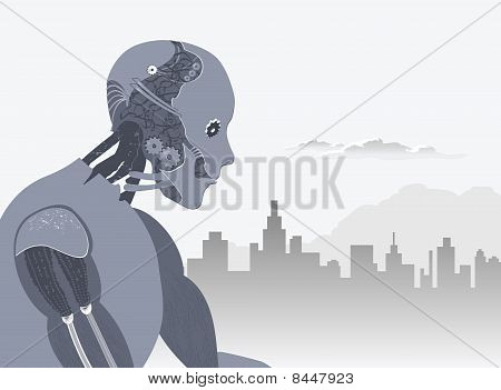 Robot With City Skyline And Clouds Illustration