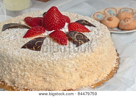 Cake With Strawberries And Decorations
