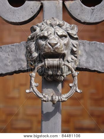 Wrought Iron Door With Lion Knocker