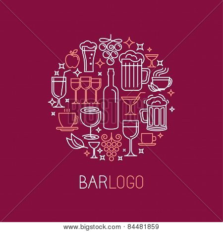 Vector Bar Logo In Linear Style