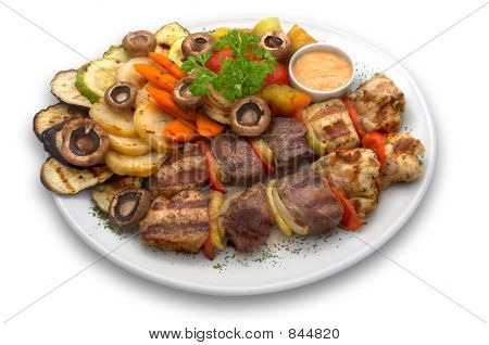 assorted veal chicken and pork kebab