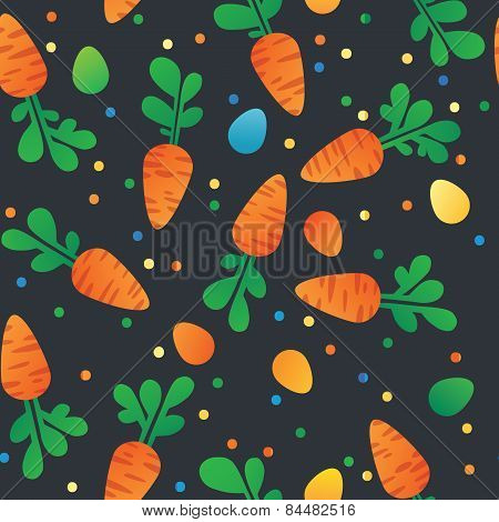 Eastern Carrot And Eggs Seamless Pattern. Carrots For Easter Bunny. Vector Seamless Texture With A L