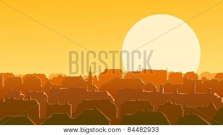 Horizontal Illustration Of Downtown European City At Sunset.