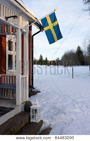 Entrance to a swedish wooden house