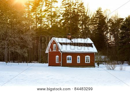 Old Red Wooden Cottage, Sweden