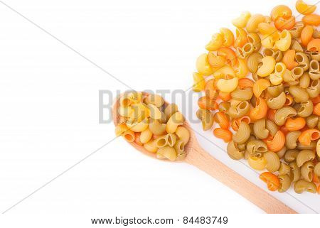 Colored Pasta On A White Background.