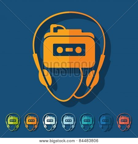 Flat design. music player