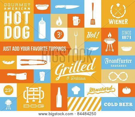 Hot Dog Vector Icon and Typography Set. Vintage, Retro Signs or Labels with Sausages, Knife, Beer, G
