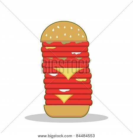 Isolated cartoon burger tower red meat
