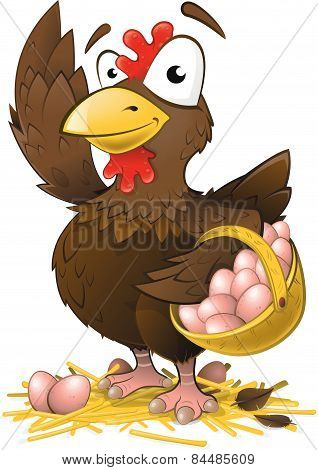 Cute Chicken With Basket Of Fresh Eggs