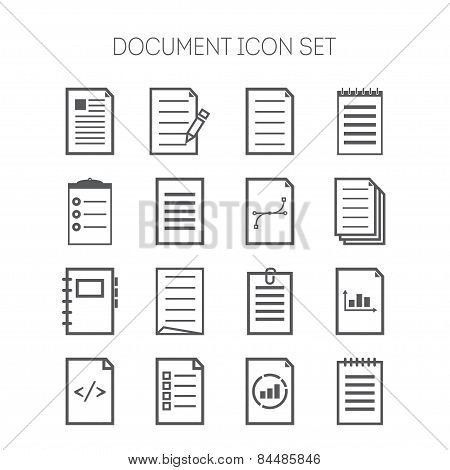 Set of simple document icons for web design, sites, applications, business and stickers