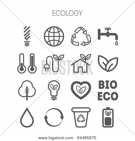 Set of simple monochromatic ecology icons