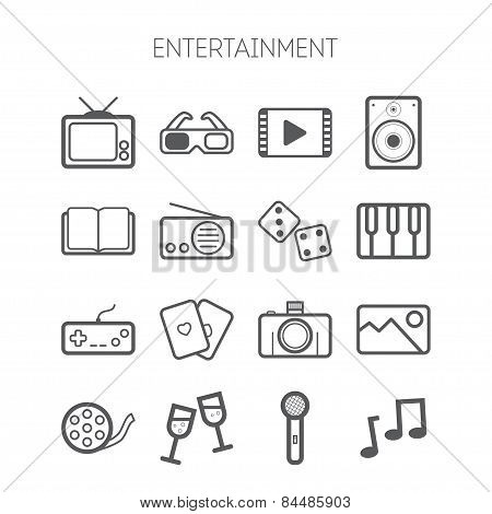 Set of simple monochromatic entertainment icons