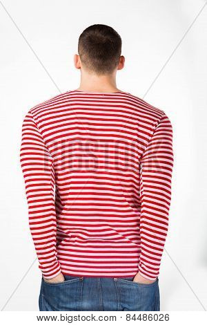 Muscular man in a red striped sweater