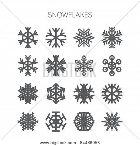 Set of simple monochromatic snowflake icons