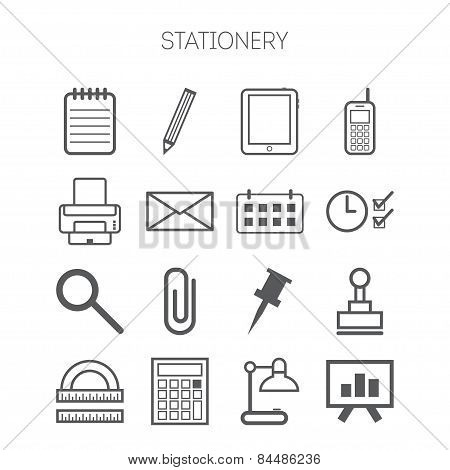 Set of simple stationery and business icons