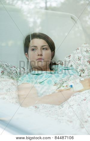 Worried Girl With Chemotherapy