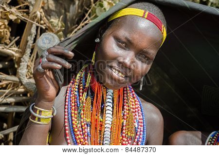 Portrait Of Young Woman From Arbore Tribe, Ethiopia