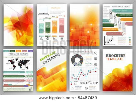 Vector Infographic Icons And Orange Backgrounds