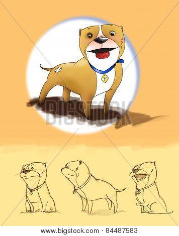Cartoon Pit bull